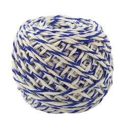 Шнур хлопковый Бело-синий, 2 нити, 50 м