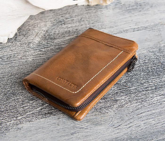 WL285-2 Мужской кошелек из натуральной кожи на молнии фото 03