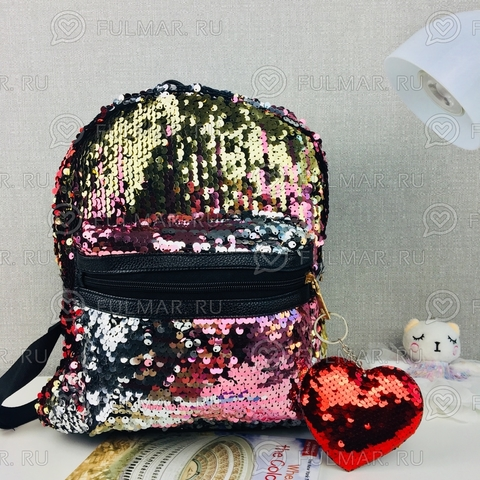 Рюкзак детский с пайетками Красный с золотистым и брелок Сердце