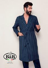 Мужской халат в полосу с поясом