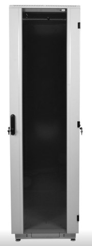 Шкаф телекоммуникационный напольный 38U (600 × 600) дверь стекло, цвет чёрный