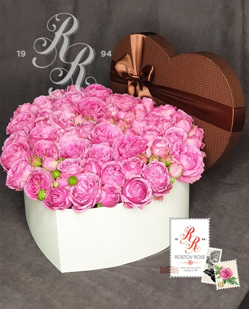 Роза Мисти Баблс в коробке сердцем