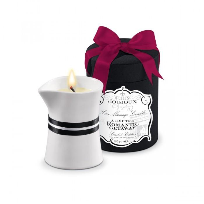Массажные масла и свечи: Массажное масло в виде большой свечи Petits Joujoux Romantic Getaway с ароматом имбирного печенья