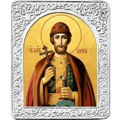 Святой Борис. Маленькая икона в серебряной раме.