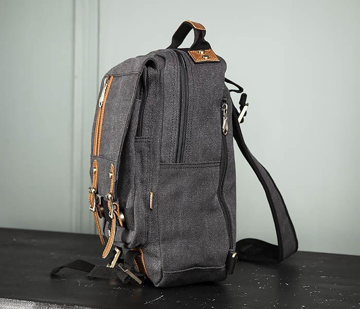 BAG394-1 Черный компактный рюкзак с одной лямкой через плечо фото 06