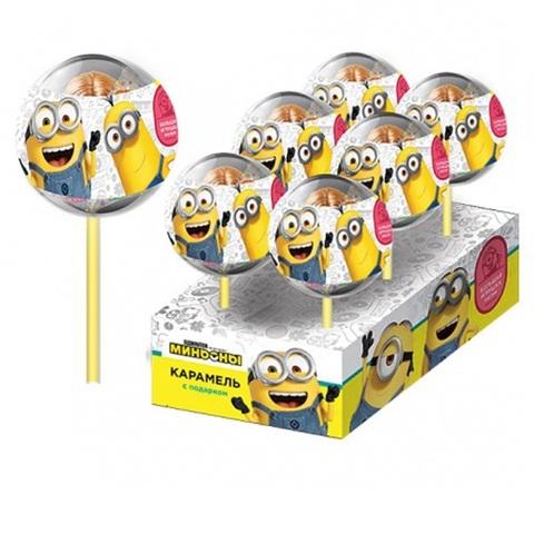 МИНЬОНЫ Карамель в пластиковом шаре на палочке с 2D игрушкой 1кор*12бл*6шт, 15г.
