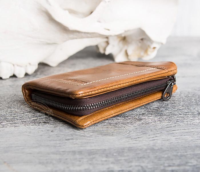 WL285-2 Мужской кошелек из натуральной кожи на молнии фото 04