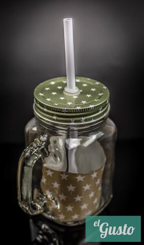 Баночка для смузи и коктейлей, прозрачная с зелёной крышкой в звёздочки