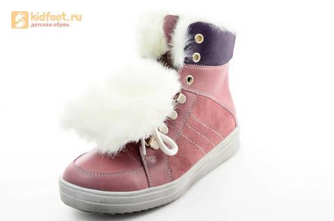 Зимние ботинки для девочек из натуральной кожи на меху Лель на молнии и шнурках, цвет ириc. Изображение 12 из 13.