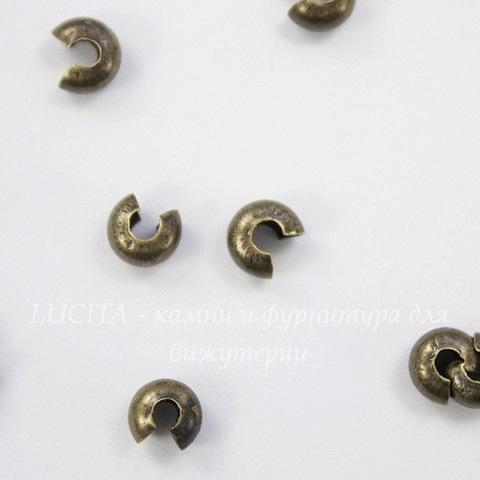 Бусина для маскировки кримпа 4 мм (цвет - античная бронза), 10 штук