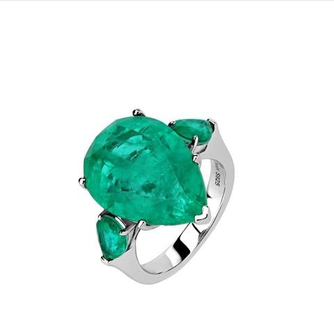 Кольцо Emerald из серебра с зеленым кварцем