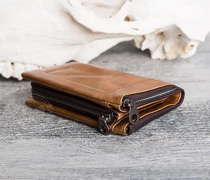 WL285-2 Мужской кошелек из натуральной кожи на молнии фото 05