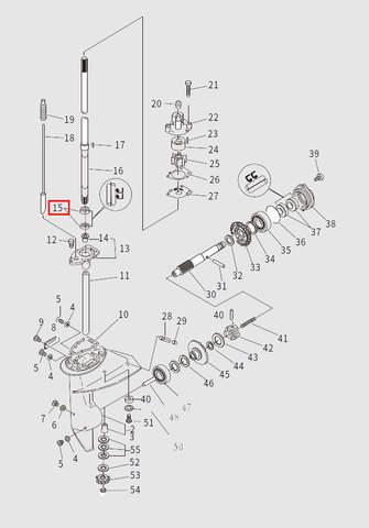 Сальник вертикального вала 18x28x10 для лодочного мотора T9.8 Sea-PRO (13-15)