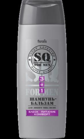 Floralis SQ For Men Шампунь-бальзам 3в1 Блеск питание комфорт 250г