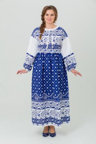 Платье льняное Певчее в синем