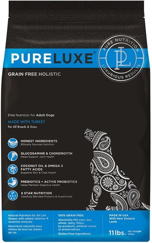 PureLuxe Elite Nutrition for adult dogs with turkey