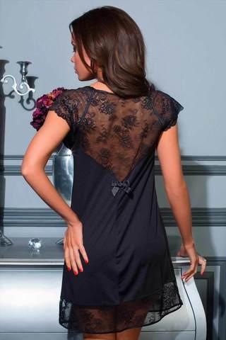 Черная женская подарочная ночная короткая итальянская сорочка Mia-Mia для свидания с кружевом вид сзади
