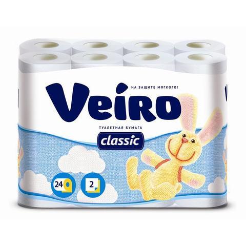 Туалетная бумага Linia VEIRO CLASSIC  2сл 24рул/уп бел.1/3