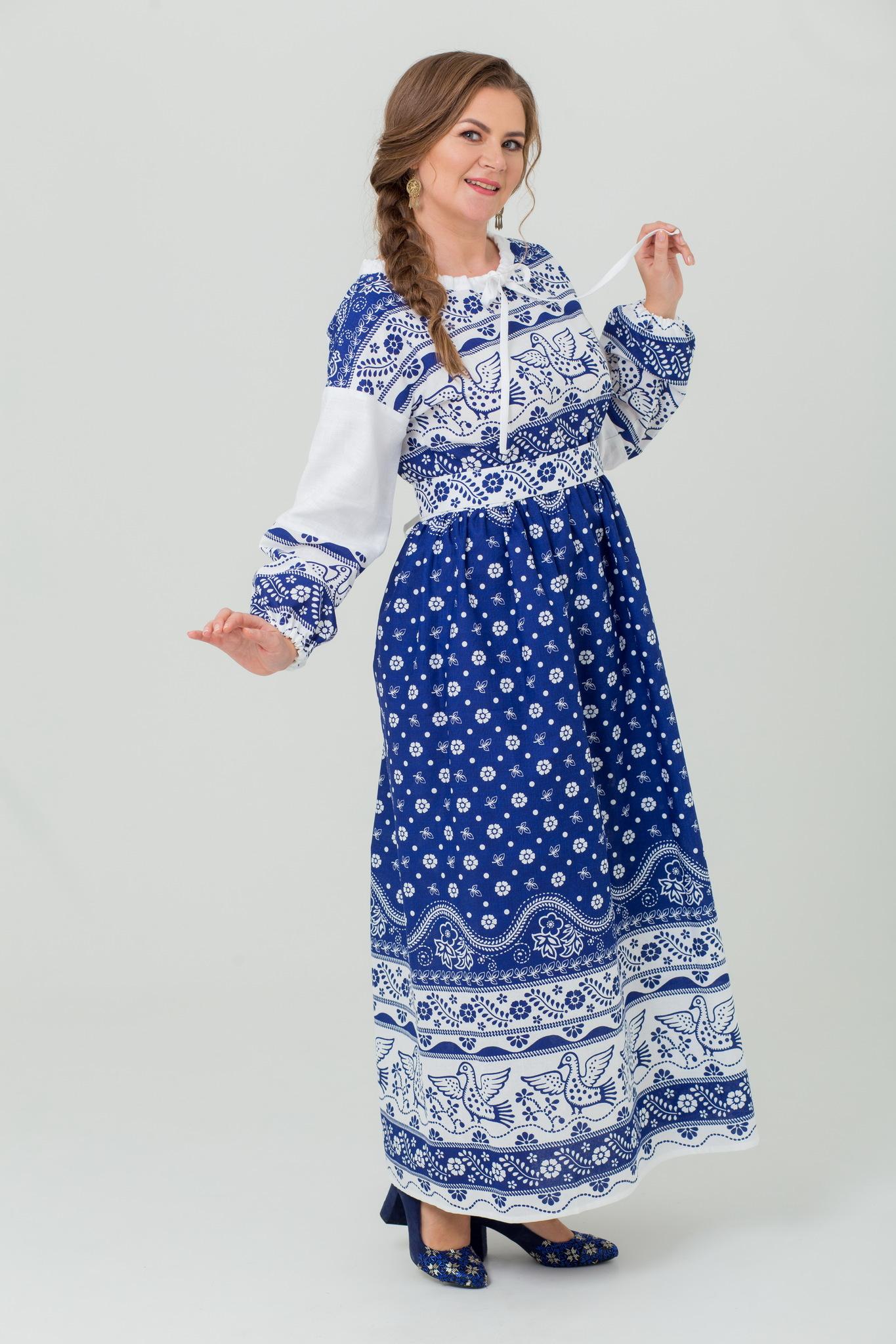 Русское народное платье Певчее в синем купить