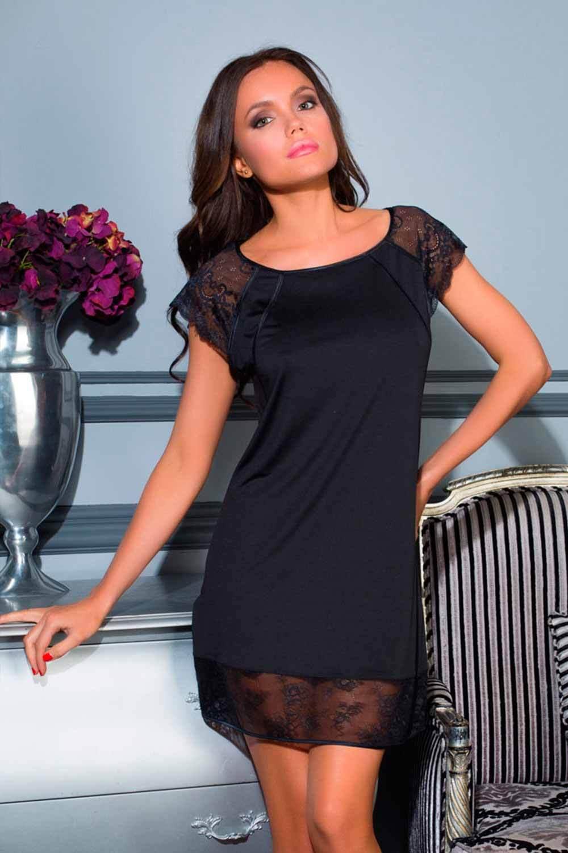 Черная сорочка с кружевом (Короткие сорочки)