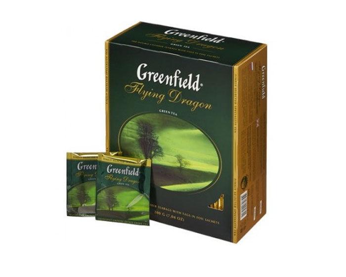 Чай зеленый в пакетиках из фольги Greenfield Flying Dragon, 100 пак/уп (Гринфилд)