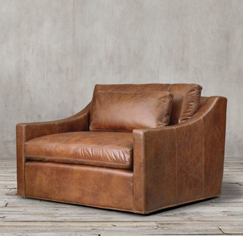 Belgian Classic Slope Arm Leather Chair-and-a-Half