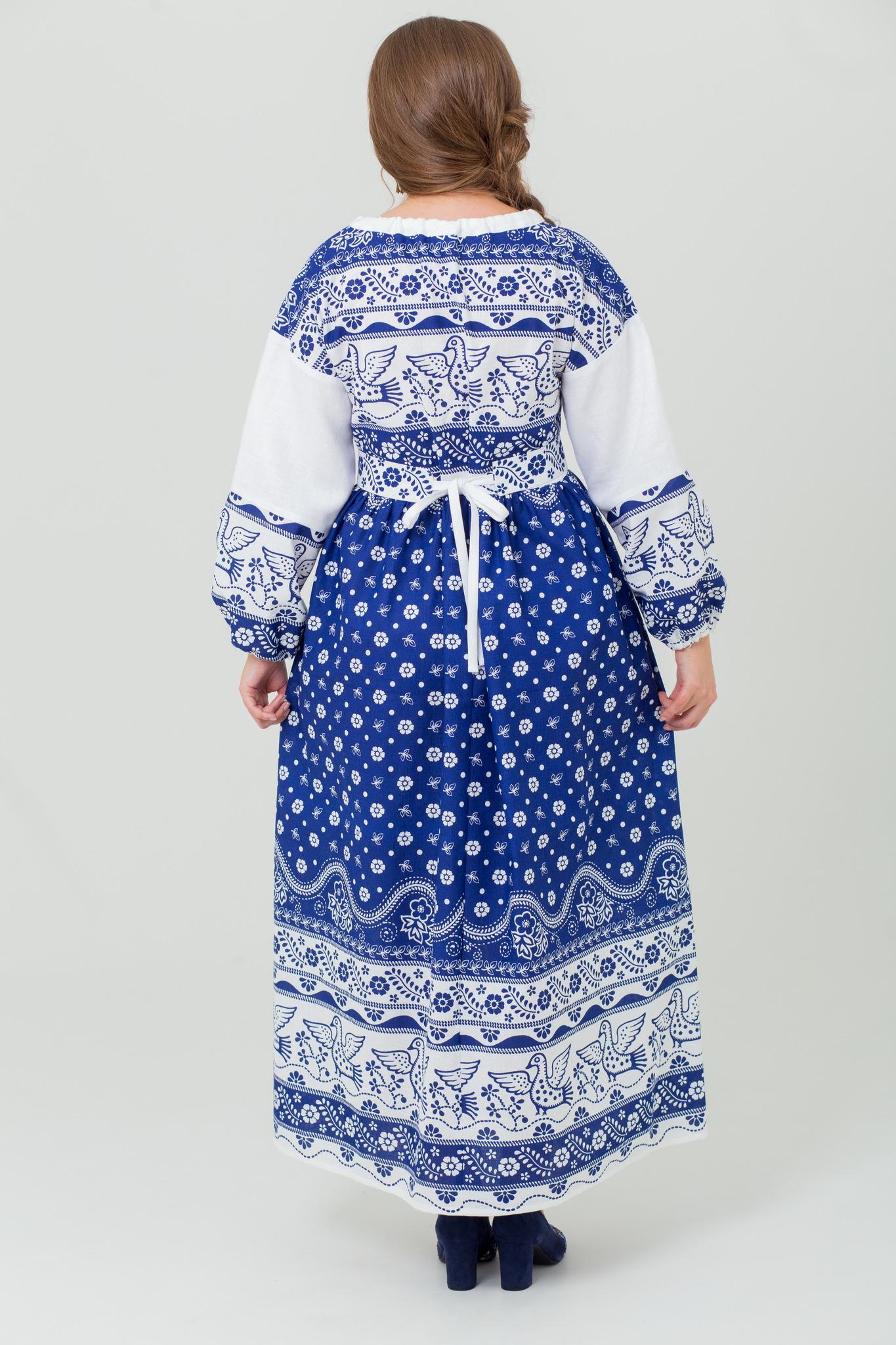 Славянское платье Певчее в синем из льна