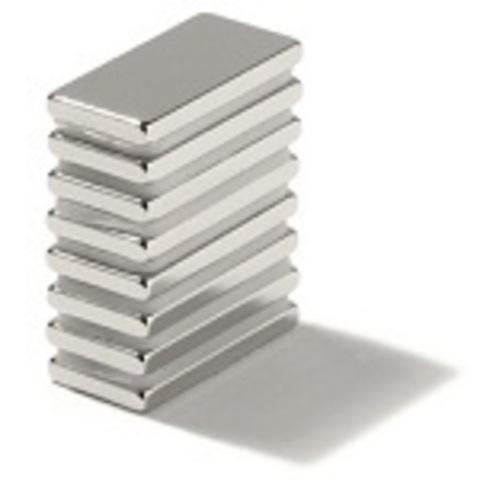 Магнит 25х15х5 мм, N38, никель, неодимовый блок