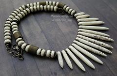 Бусина Говлит (искусств), рондель, цвет - молочный, 8х4 мм, нить