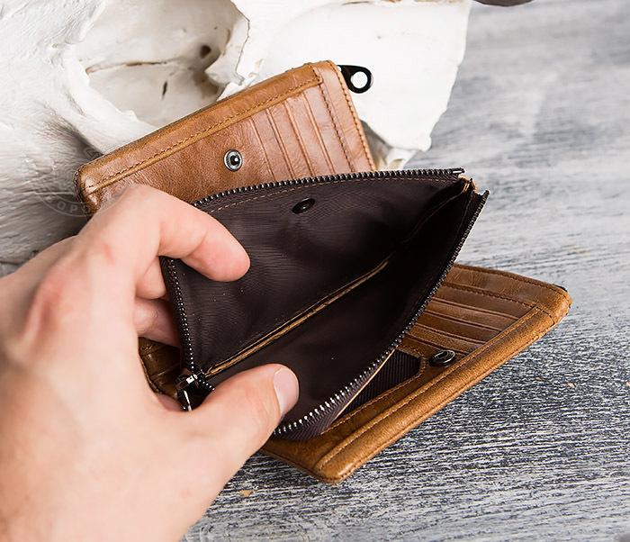 WL285-2 Мужской кошелек из натуральной кожи на молнии фото 08