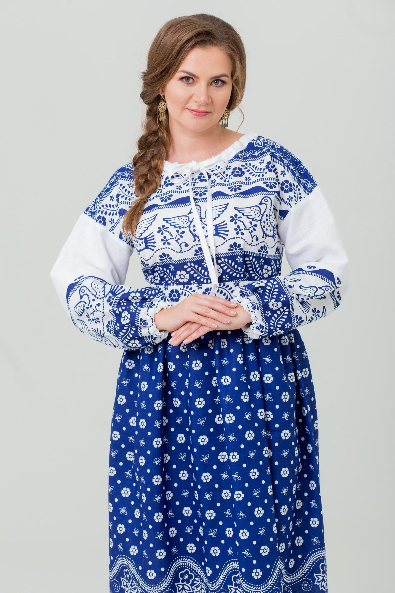 Красивое русское платье Певчее в синем