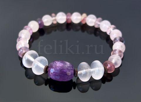 браслет из натурального розового кварца и крупного аметиста_фото розового браслета