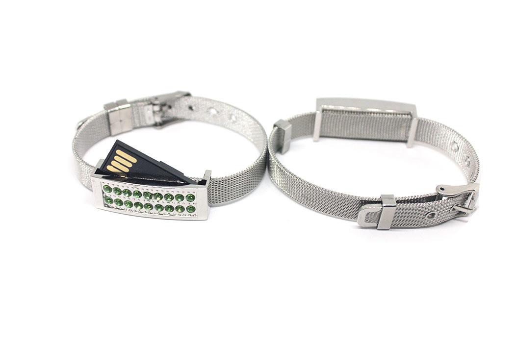 usb-флешка металлический браслет серебро с зелеными стразами