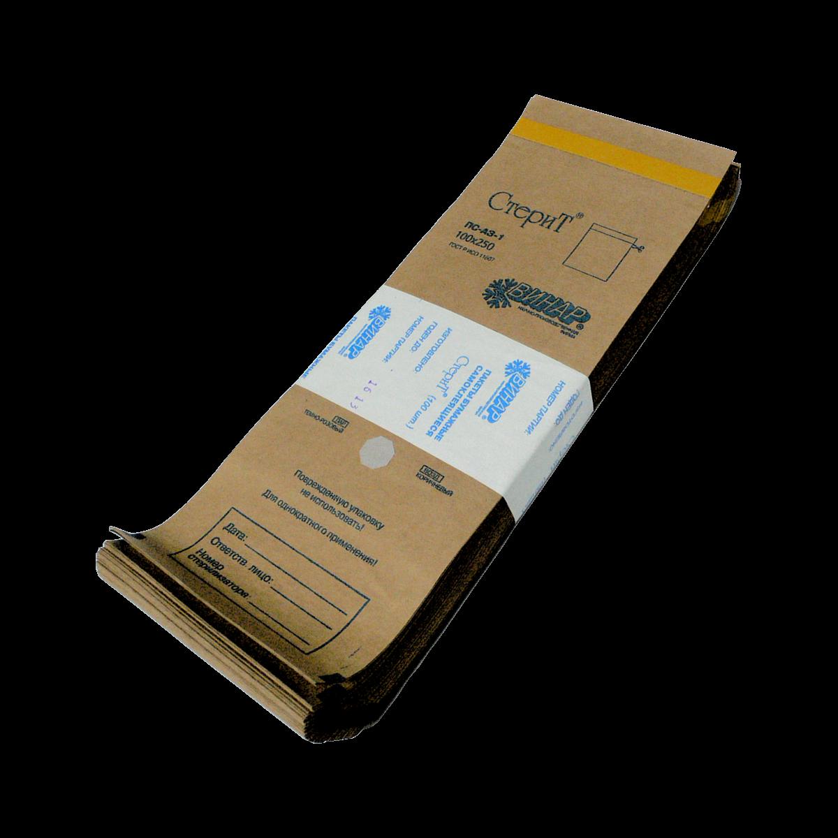Крафт-пакеты 150х250, самоклеящиеся с индикатором для паровой и газовой стерилизации
