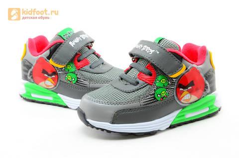 Светящиеся кроссовки для мальчиков Энгри Бердс (Angry Birds) на липучках, цвет темно серый, мигает картинка сбоку. Изображение 10 из 15.