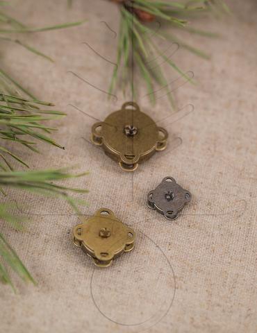 Кнопка магнитная пришивная античная латунь 10, 15, 18 мм