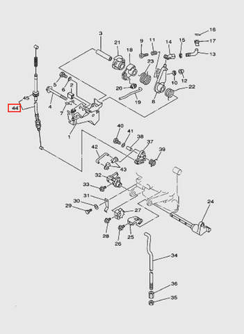 Трос блокировки стартера  для лодочного мотора T15, OTH 9,9 SEA-PRO (12-44)
