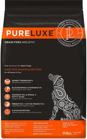 PureLuxe Elite Nutrition for adult dogs with salmon & split peas