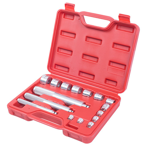 МАСТАК (100-20017C) Набор оправок алюминиевых для подшипников, 10-32 мм, кейс, 16 предметов