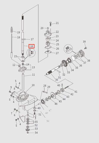Вал вертикальный для лодочного мотора T9.8 Sea-PRO (13-16)