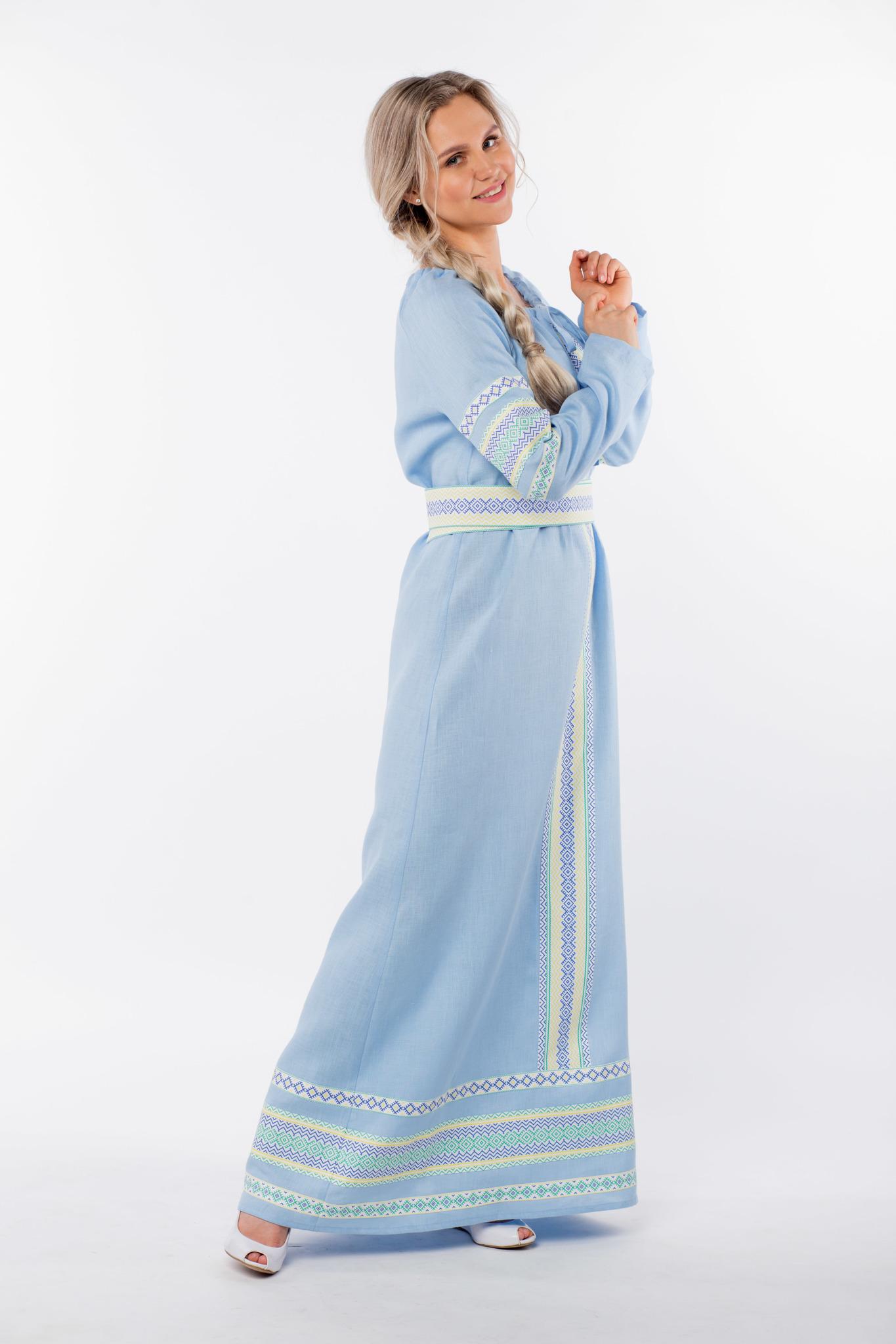 Платье льняное Чистый родник вид сбоку