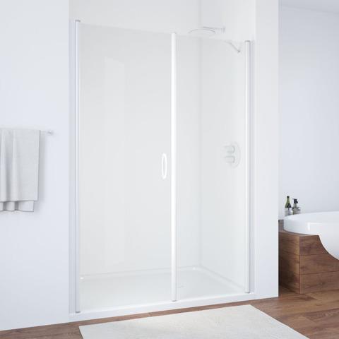 Душевая дверь в нишу Vegas Glass EP-F-2  профиль белый, стекло прозрачное