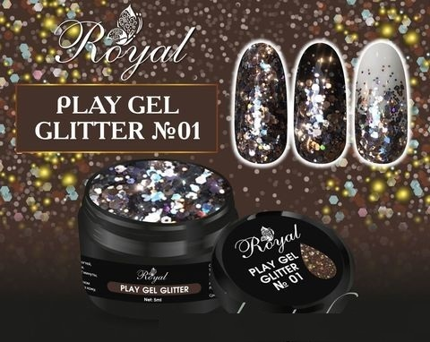 01 Gel PLAY GLITTER Royal 5мл. Артикул: 177-001