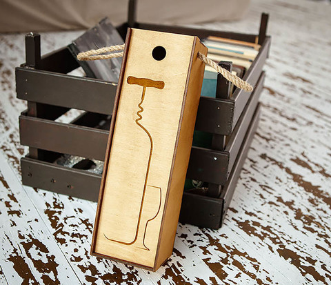 BOX243 Подарочная коробка для вина «Штопор» (33*10*10,5 см)