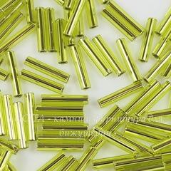 0024 Бисер японский TOHO Стеклярус (Bugle) #3, зеленый лимон