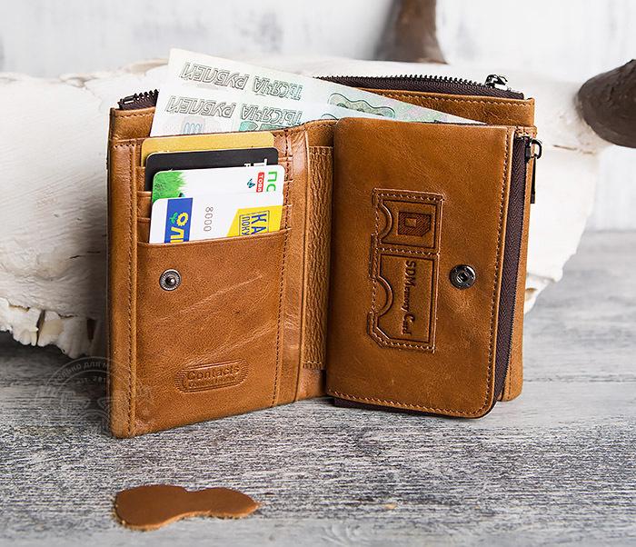 WL285-2 Мужской кошелек из натуральной кожи на молнии фото 10