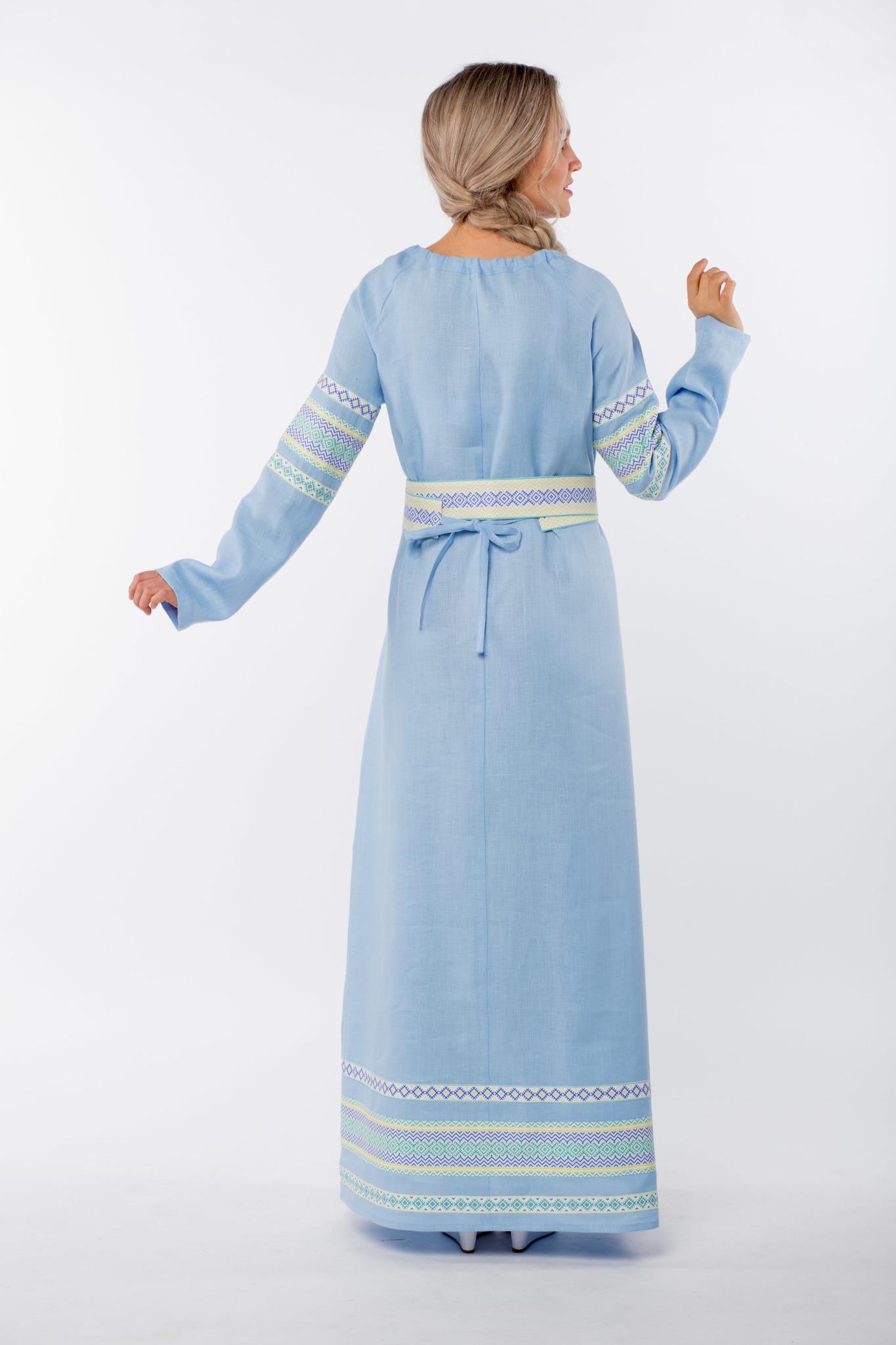 Платье льняное Чистый родник вид сзади