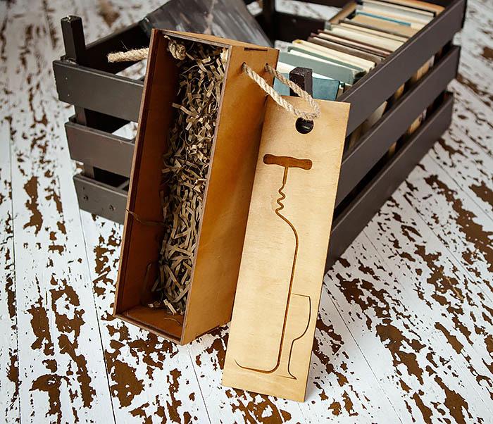 BOX243 Подарочная коробка для вина «Штопор» (33*10*10,5 см) фото 02