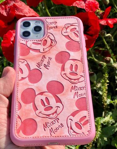 Чехол iPhone 11 Pro Max Mickey Mouse Leather vintage /pink/