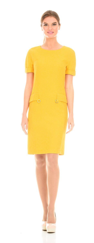 Платье З107-380 - Платье приталенного силуэта, с втачными рукавами,  из букле на подкладке. Ткань прекрасно держит форму, не мнется, легка в уходе. Отличная модель для офиса и на каждый день.